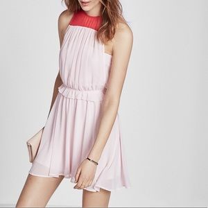 NWT EXPRESS Pink Red Colorblock Sleeveless Dress
